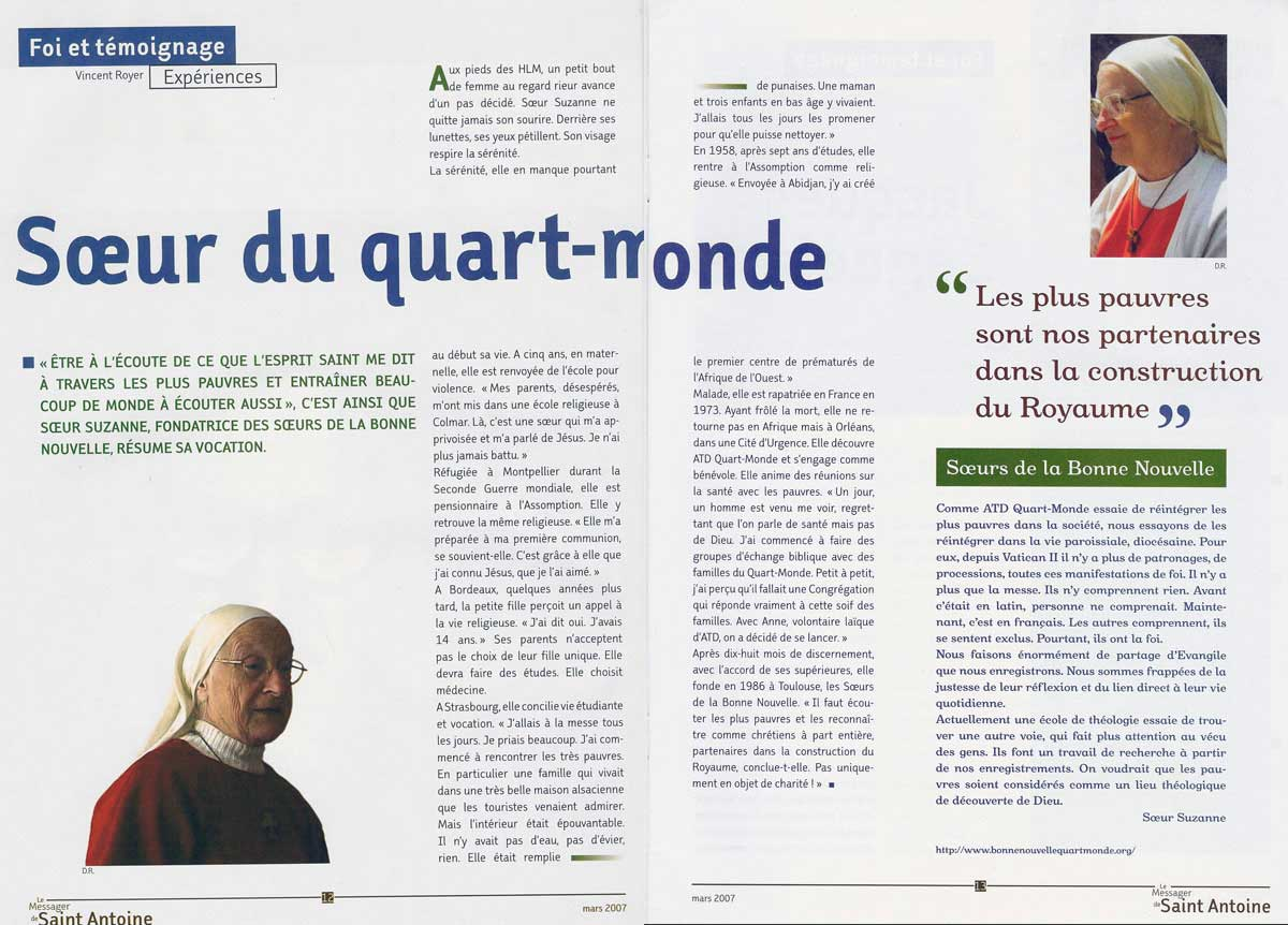 Soeur du Quart-Monde - Le Messager de Saint Antoine